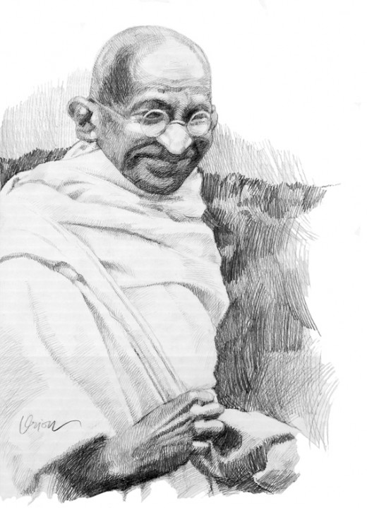 Gandhiji pencil drawn