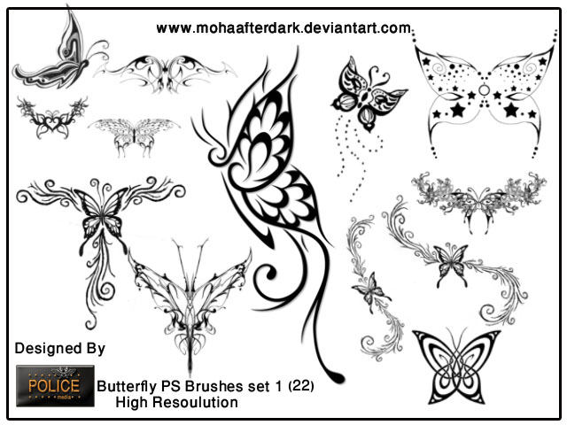 30 most wanted free photoshop butterfly brushes tutorialchip. Black Bedroom Furniture Sets. Home Design Ideas