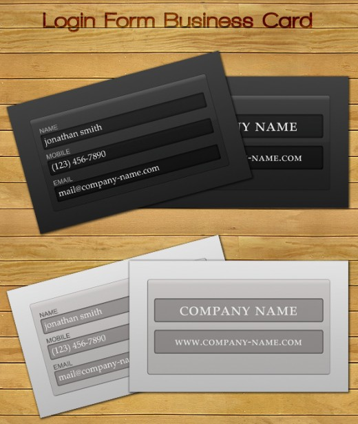 Login Form Business Card UPDATED