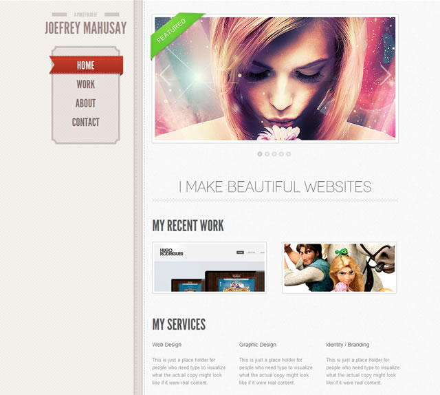 Free single page html5 portfolio template tutorialchip for Wordpress attachment page template