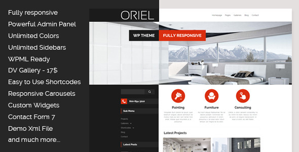 Oriel responsive interior design wordpress theme tutorialchip for Interior design wordpress theme