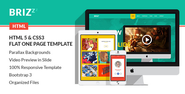 Brizzz flat one page html template tutorialchip for Wordpress attachment page template