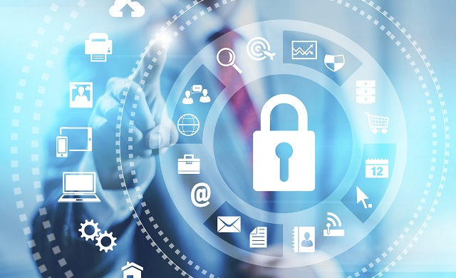 Internet security online business concept pointing security services