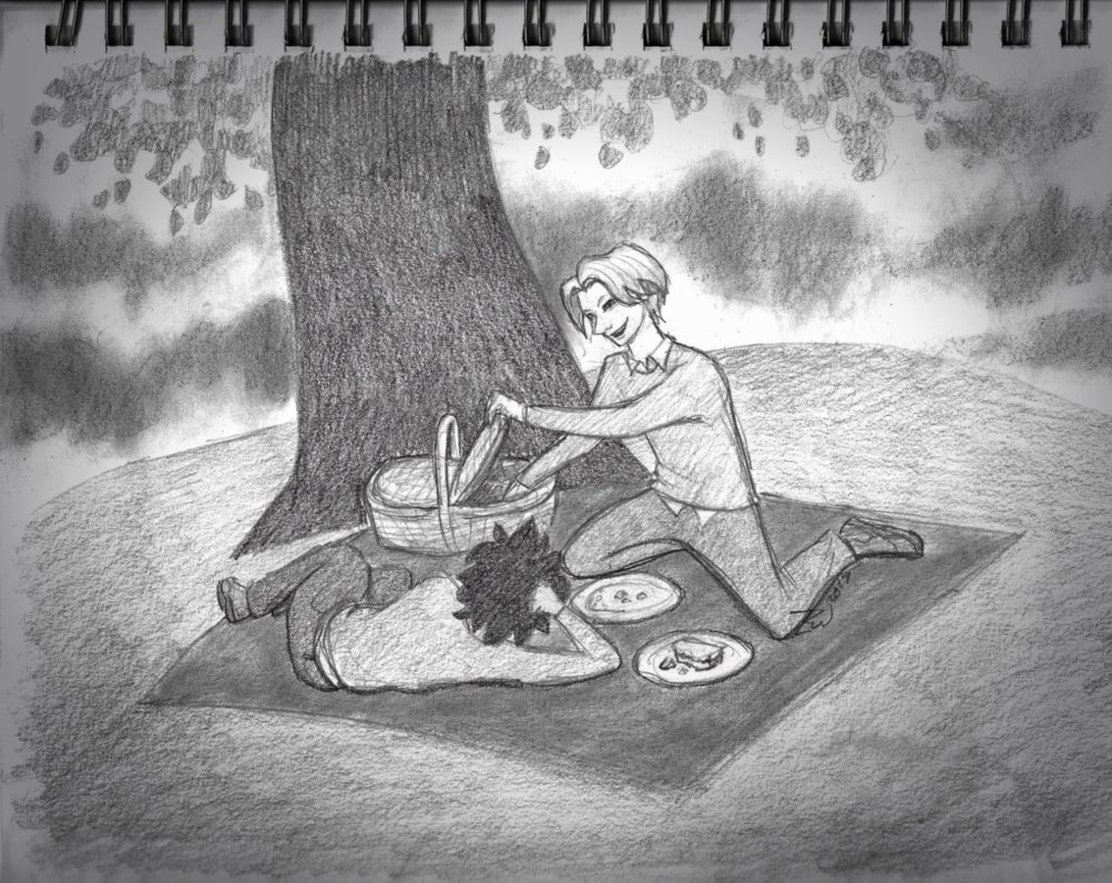 Picnicking together pencil art ideas