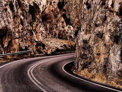 rocks and road