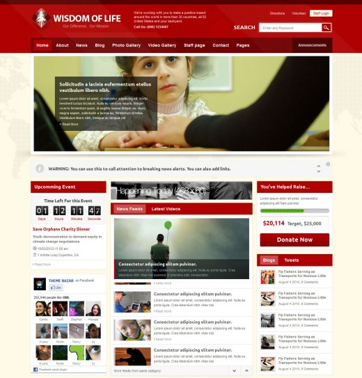 Exclusive free and premium charity templates tutorialchip wisdom of life html template php contact form maxwellsz
