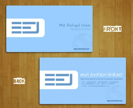 Business Card Designed for Earl Fashion Limited
